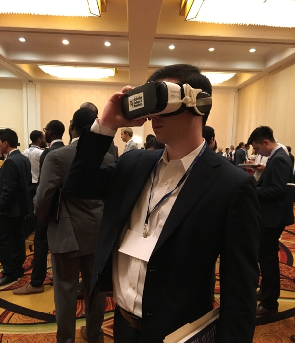 Virtual reality experience at MBA tour event.