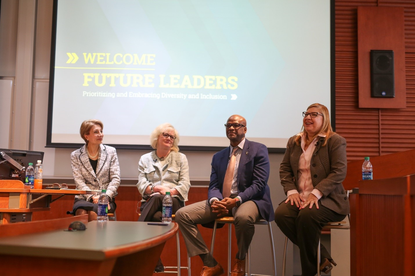 Future Leaders panelists participate in discussion on diversity and inclusion. Left to right: Maryam Alavi, Nancy Sykes, Andrew Davis, and Beatriz Rodriguez.