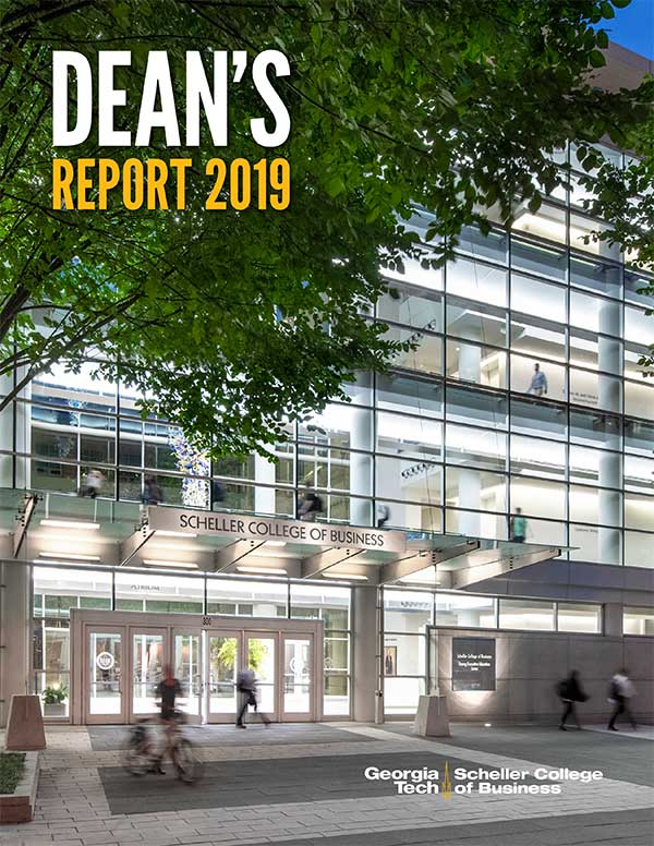 Cover of the Dean's Report PDF with Scheller Students