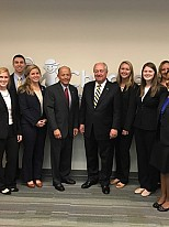 Pictured (from left to right): Keely Jones (Children's Healthcare of Atlanta, Project Manager), Zach Steinfeld (Student), Shannon Felts (Student), Cat Edwards (Student), Chris Hardin (Student), Dan Salinas (Children's Healthcare of Atlanta, Chief Medical Officer), Bill Todd (Georgia Tech Faculty Member), Emily Ratliff (Student), Gwen Vozeolas (Student), Madison Young (Student), Courtney Burton (Student), Divad Miles (Student)