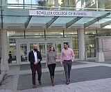 Ahmad, Huded, and Mikawi outside Scheller College