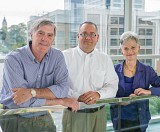 Scheller College Professors Jerry Thursby, Matt Higgins, and Marie Thursby (left to right).