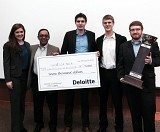 Georgia Tech's MBA won $7,000 and a trophy as first place winner of the 2015 Deloitte Supply Chain Challenge.