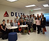 Delta Air Lines Innovation Center hosted MBA students for a tour of new technologies in Tech Square.