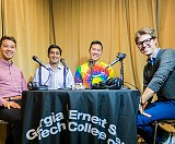 Full-time MBA students Declan Nishiyama, Prateek Mittal, Newton Chan, and host Alex Walsh