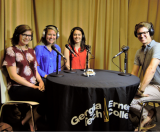 Full-time MBA students Katie Woods, Paige Brown, Paige Dumiak, and host Alex Walsh.