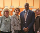 Left to right: Nancy Sykes, Dean Maryam Alavi, Andrew Davis, and Dr. Beatriz M. Rodriguez.