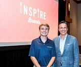 Scheller undergraduate, Cole Ormsby, and Scheller alumnus, Paul Brown, CEO of Inspire Brands, pose at Scheller's Opening Bell earlier this year. Ormsby is a second-year Business Administration major with a concentration in Operations and Supply Chain Management.