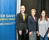 L-R: Kelly Barrett, senior vice president of Home Services (retired), The Home Depot; Scheller Collge of Business Dean Maryam Alavi; and Kathyrn Petralia, president and co-founder of Kabbage Inc.