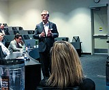 David Rowland speaks to first-year MBA students at the Re-CHARGE event