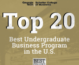 The Scheller College of Business undergraduate program has broken into the top 20 in the U.S. News and World Report's 2021 Best Colleges rankings.
