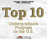 The Georgia Tech Scheller College of Business Undergraduate program ranks No. 1 in the U.S. for academic advising, career advising, extra-curricular opportunities, and effectiveness of degree in helping students reach their career goals.