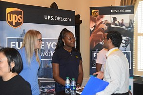 UPS team members speak to Tech students about job and internship opportunities.