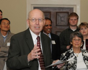 For his retirement reception at the Historic Academy of Medicine, Eugene Comiskey was joined by many of his colleages at Georgia Tech College of Management.