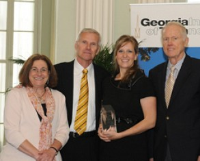 Angela Behnken (second from right), won the Institute for Leadership and Entrepreneurship (ILE)-Cowan-Turner-Student Leadership Award. She is pictured with (from left) ILE Director Terry Blum, Dean Steve Salbu, and Cowan-Turner Servant Leadership Chair Joel Cowan.