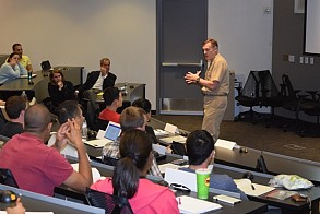 "Admiral Rogers addressed the ""Privacy Technology, Policy, and Law"" class on Monday, Oct. 24."