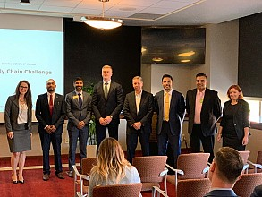 Scheller first-year, Full-time MBA students Subhachandhar Shanmugasundaram (second from left), Mihir Chheda (third from left), Bradley Gunter (fourth from left), and Osama Mikawi (third from right) competed in the 6th Annual Deloitte SCNO Supply Chain Challenge.