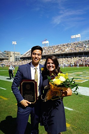 James Ni and Hannah Todd, a pair of Scheller College of Business undergraduate students, were crowned Homecoming 2018 Mr. & Ms. Georgia Tech. (Photo courtesy: James Ni)