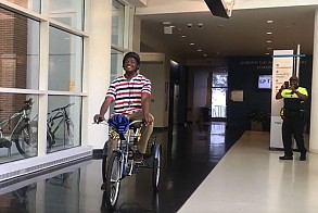 Marquaviou Barnes recivies new bike from GTPD