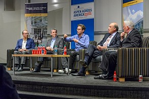 "The CEO panel on ""Leading Innovation"" discussed the leadership required for both disruptive and sustaining innovation with executives (left to right) Greg Coleman, Craig Menear, Jonah Peretti, Muhtar Kent, and Walter Isaacson."